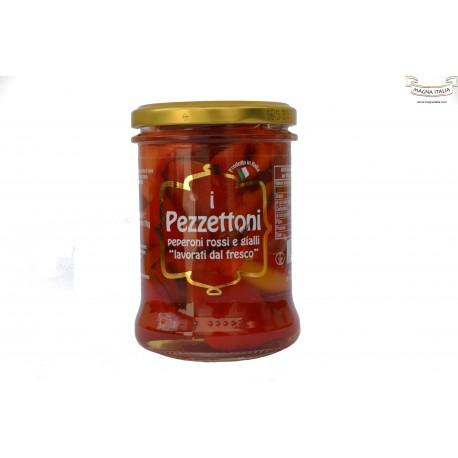 Peperoni rossi e gialli a pezzi