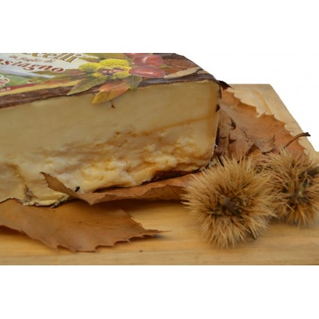 Cheese with chestnut leaves